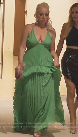 Margaret's green pleated maxi dress on The Real Housewives of New Jersey