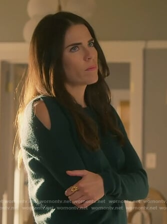 Laurel's green shoulder cutout sweater on How to Get Away with Murder
