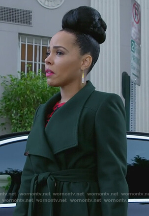 Tegan's green wrap coat on How to Get Away with Murder