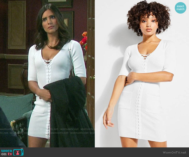 Guess Erin Lace-up Sweater Dress worn by Gabi Hernandez (Camila Banus) on Days of our Lives