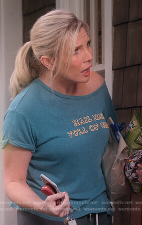 Brianna's green Hail Maui Full of Grass tee on Grace and Frankie