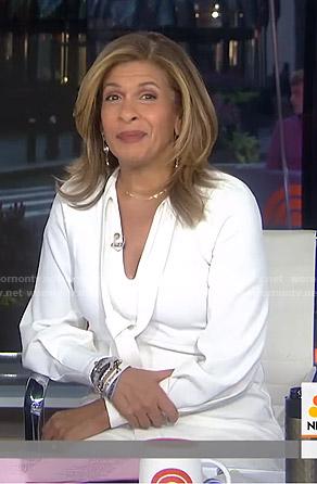 Hoda's white tie neck mini dress on Today