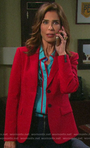 Hope's blue floral blouse with red trim on Days of our Lives