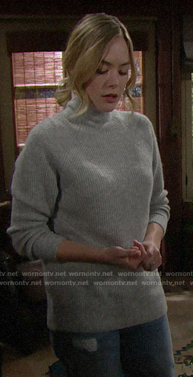 Hope's grey sweater on The Bold and the Beautiful