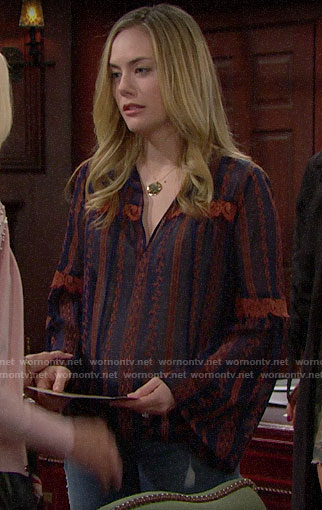 Hope's navy embroidered blouse on The Bold and the Beautiful
