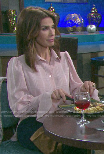 Hope's pink checked blouse on Days of our Lives