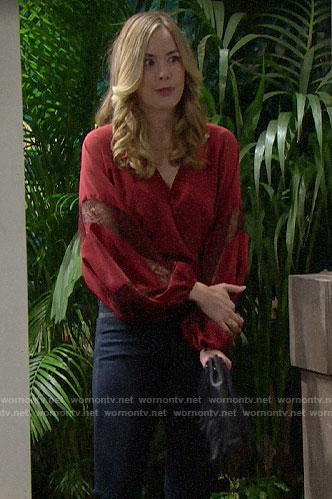 Hope's red lace inset blouse on The Bold and the Beautiful