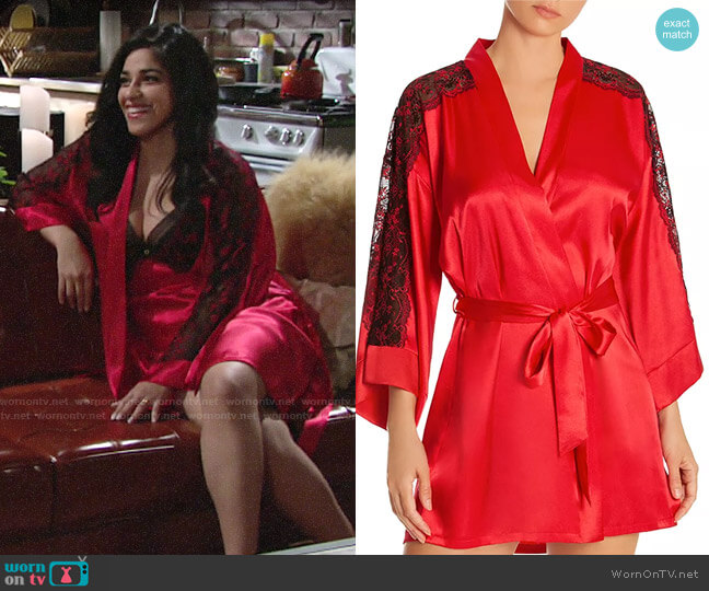 In Bloom by Jonquil Lace-Inset Satin Wrap Robe worn by Mia Rosales (Noemi Gonzalez) on The Young & the Restless