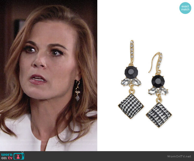 INC International Concepts Gold-Tone Stone & Tweed Drop Earrings worn by Phyllis Newman (Gina Tognoni) on The Young & the Restless
