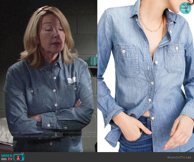 J. Crew Selvedge Chambray Shirt worn by Nikki Reed Newman (Melody Thomas-Scott) on The Young & the Restless