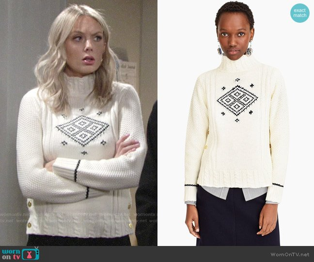 The Reeds X J.Crew side button swing sweater worn by Abby Newman (Melissa Ordway) on The Young & the Restless