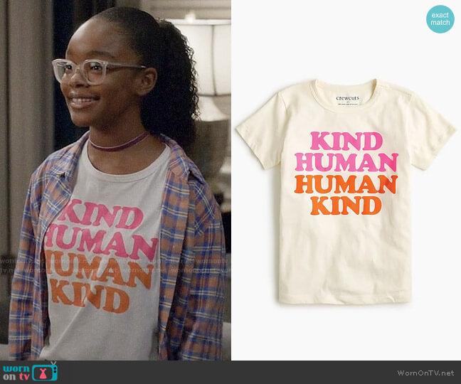 J. Crew Girls Human Kind T-shirt worn by Diane Johnson (Marsai Martin) on Blackish