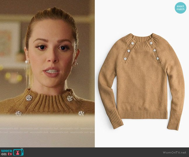 J. Crew Sweater with Jewelled Buttons worn by Lucy (Natalie Hall) on Charmed