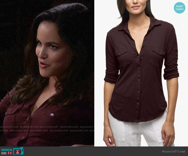 James Perse Sheer Slub Side Panel Shirt worn by Amy Santiago (Melissa Fumero) on Brooklyn Nine-Nine