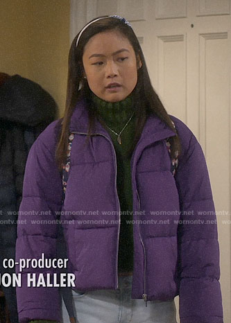 Jen's purple puffer jacket on Last Man Standing