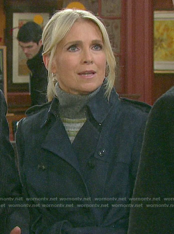Jennifer's blue suede trench coat on Days of our Lives