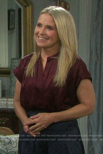Jennifer's burgundy short sleeve blouse on Days of our Lives