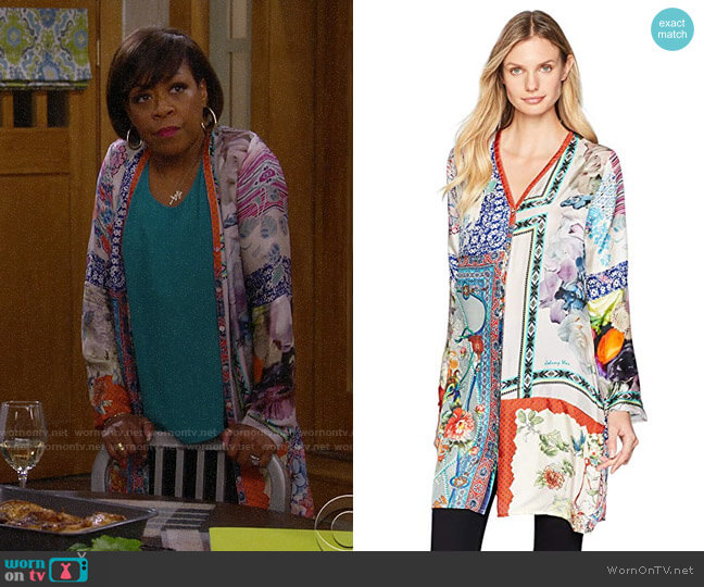 Johnny Was Bioria Cardigan worn by Tina (Tichina Arnold) on The Neighborhood
