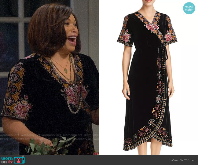 Johnny Was Joanna Embroidered Velvet Wrap Dress worn by Carol on Last Man Standing