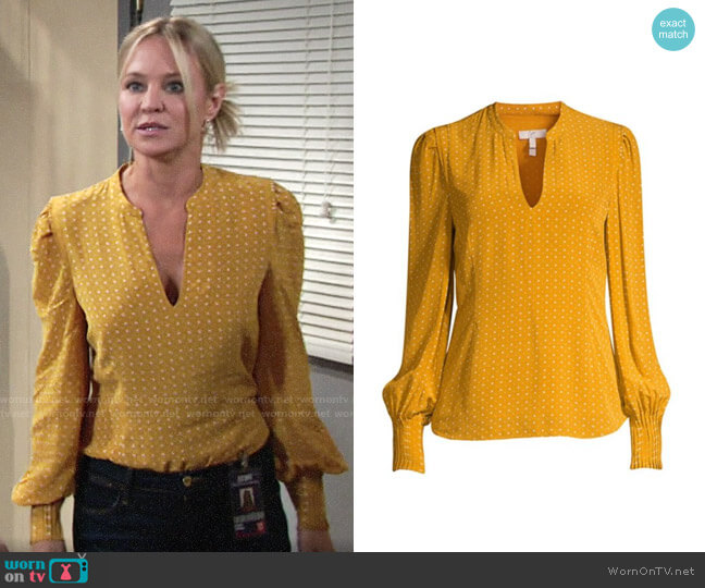Joie Korina Blouse worn by Sharon Collins (Sharon Case) on The Young & the Restless