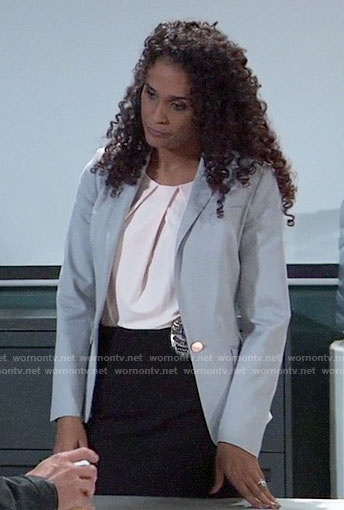 Jordan's grey blazer on General Hospital