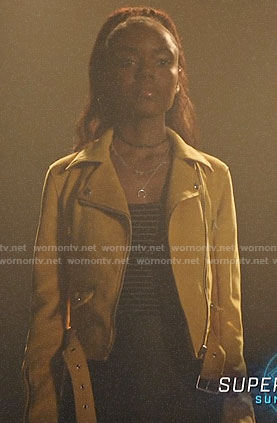 Josie's yellow moto jacket on Riverdale