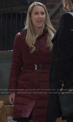Josslyn's red belted puffer coat on General Hospital