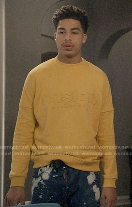 Junior's yellow VISION sweatshirt on Black-ish