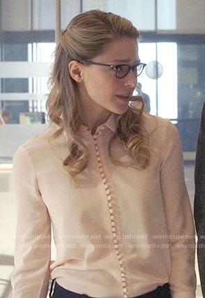 Kara's blush button down blouse on Supergirl