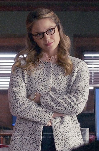 Kara's white leopard coat on Supergirl