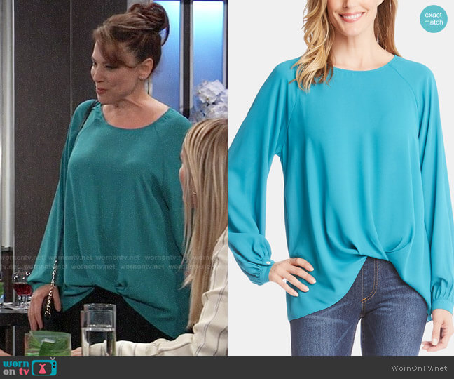 Karen Kane Long-Sleeve Twist-Hem Top worn by Liesl Obrecht (Kathleen Gati) on General Hospital