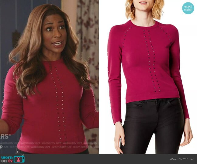 Studded Sweater by Karen Millen worn by Poppy (Kimrie Lewis) on Single Parents