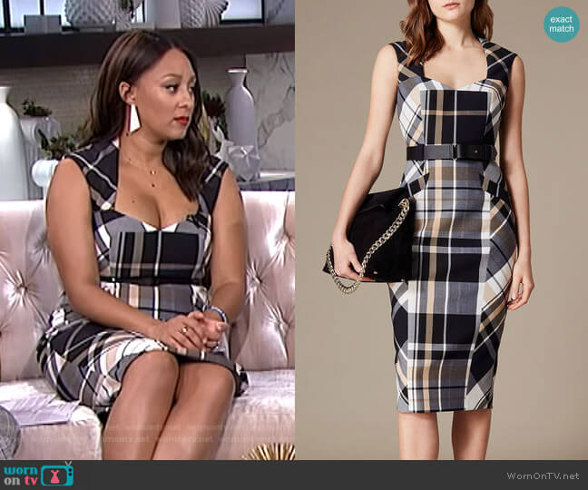 Tartan Check Forever Dress by Karen Millen worn by Tamera Mowry (Tamera Mowry) on The Real