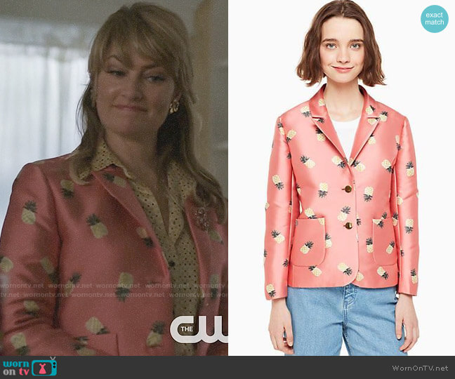 Kate Spade Pineapple Jacquard Jacket worn by Alice Cooper (Mädchen Amick) on Riverdale