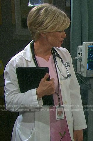 Kayla's pink scalloped neckline dress on Days of our Lives
