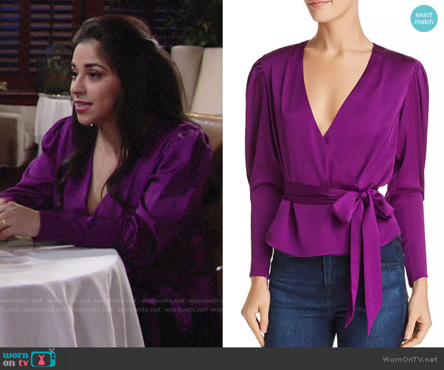 Keepsake Infinity Bishop-Sleeve Floral Top worn by Mia Rosales (Noemi Gonzalez) on The Young & the Restless