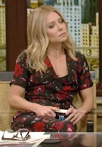 Kelly's floral wrap midi dress on Live with Kelly and Ryan