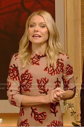 Kelly's beige branch print midi dress on Live with Kelly and Ryan