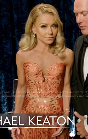 Kelly's orange strapless gown on Live with Kelly and Ryan at The Oscars