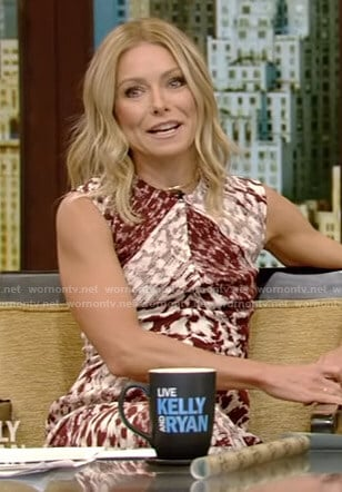 Kelly's leopard print sleeveless dress on Live with Kelly and Ryan