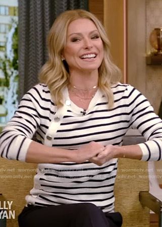 Kelly's striped button detail sweater on Live with Kelly and Ryan