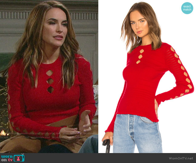 Kenzo Fitted Lacehole Sweater worn by Jordan Ridgeway (Chrishell Hartley) on Days of our Lives