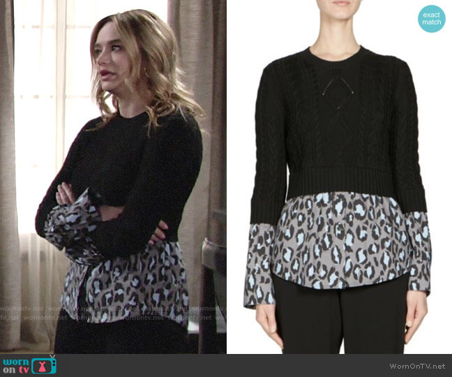 Kenzo Mixed Leopard Poplin Sweater worn by Summer Newman (Hunter King) on The Young & the Restless