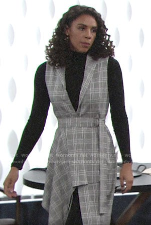 Kerry's plaid draped front vest on The Young and the Restless