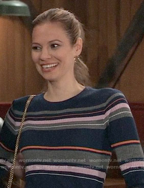 Kim's mixed stripe sweater on General Hospital