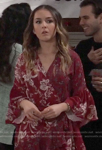 Kristina's red floral bell-sleeve wrap dress on General Hospital