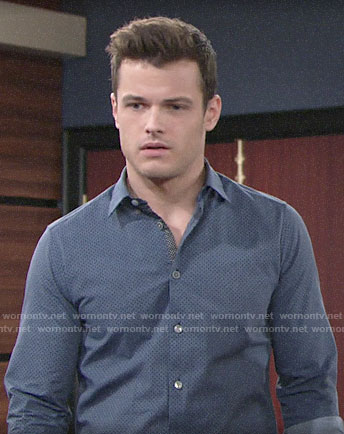 Kyle's blue printed shirt on The Young and the Restless