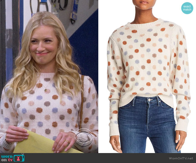 La Vie Rebecca Taylor Jacquard Dot Sweater worn by Gemma (Beth Behrs) on The Neighborhood