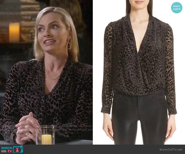 L'Agence Lydia Drape Front Burnout Velvet Blouse worn by Jill Kendall (Jaime Pressly) on Mom