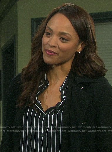 Lani's black striped shirt on Days of our Lives